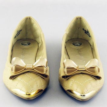 Nude Bow Pointy Toe Ballet Flats