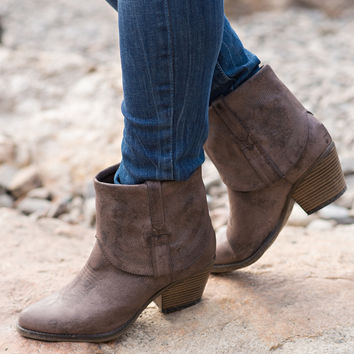 Not Your Average Cowboy Bootie-Taupe