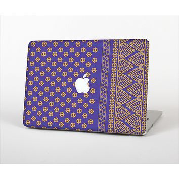 The Tall Purple & Orange Floral Vector Pattern Skin Set for the Apple MacBook Pro 15""