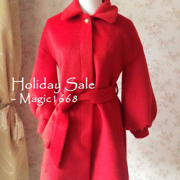 Red Wool Coat. Women Winter Outerwear. Cute Curly Bow. Winter Cloak Jacket. Winter Coat with belt. Holiday Women Clothing for red Christmas