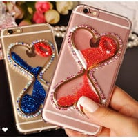 Fashion 3D Rhinestone Diamond TPU Heart-shaped Liquid Quicksand phone cases For iphone 6 6s 6plus Noctilucent Hourglass cover
