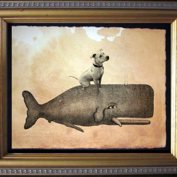 Pitbull Terrier Riding Whale - Vintage Collage Art Print on Tea Stained Paper - Vintage Art Print - Vintage Paper