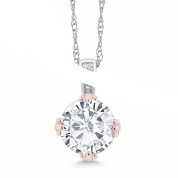 0.68 Ct Round Created Moissanite and Diamond 10K 2-Tone Gold Pendant With Chain