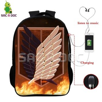 Cool Attack on Titan  Scoutine Legion Levi Mikasa Multifunction School Bags USB Charging Headphone Jack Laptop Backpack Travel Bags AT_90_11