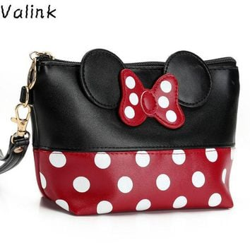 DCCKHG7 Valink 2017 Women PU Leather Butterfly Bow Makeup Bag Wristlet Cosmetics Bags Fashion Small Travel Pouch Neceser Maquillaje Sac