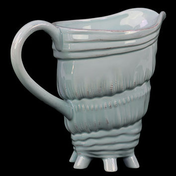 Unique & Dazzling Ceramic Seashell Pitcher W/ Multi Tiny Stand In Blue