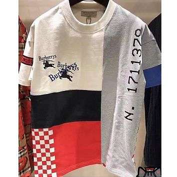 """Hot Sale """"Burberry"""" Popular Women Men Loose Joining Together Short Sleeve Round Collar Couple T-Shirt Pullover Top I13258-1"""