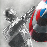 Drawing of Captain America (Chris Evans) from Avengers