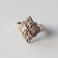 Beverly Hills Silver Vintage Sterling Ring with Diamond Cut Design - Signed