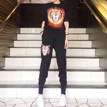 LMFONS Gucci' Women Casual Fashion Knit Letter Tiger Head Pattern Middle Sleeve Trousers Set Two-Piece Sportswear