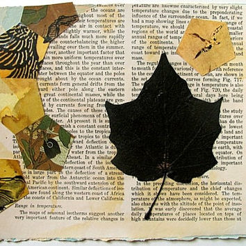 Original mixed media collage art on paper, using found imagery, acrylic paint, maple leaf