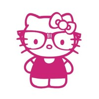 Hello Kitty Nerd Glasses Pink Vinyl Decal Sticker CUSTOM