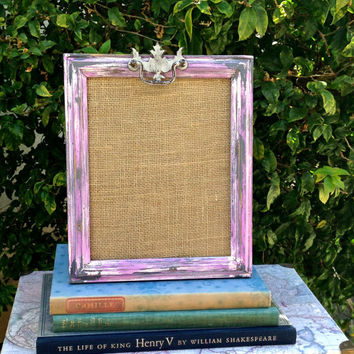 "Picture Frame/Up-cycled Wood/Paint Distressed Lilac Grey White/Vintage Painted Drawer Pull Embellished/8"" x10"""