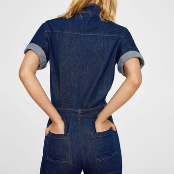 Belt denim jumpsuit - Women | MANGO USA