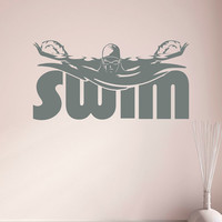 Sports Wall Decals Stickers Swimming Pool Signs Swimmer Gift- Swim Wall Decal Sports Decor For Girls Room Bedroom Swimming Wall Art Q284
