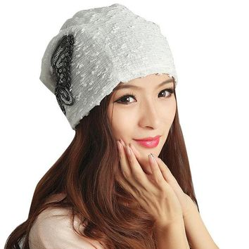 DCCKJG2 2016 winter hats for Women bonnet femme New Design Lace Butterfly Beanie Lady Caps famous brand cap &p1