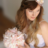 Set of shell headband and wedding bouquet. Set for beach bride. Bouquet with shells and shell crown