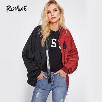 ROMWE Patchwork Casual Bomber Jacket Color Block Women Two Tone Patch Back Autumn Jackets 2018 New Letter Ribbon Zip Up Jacket