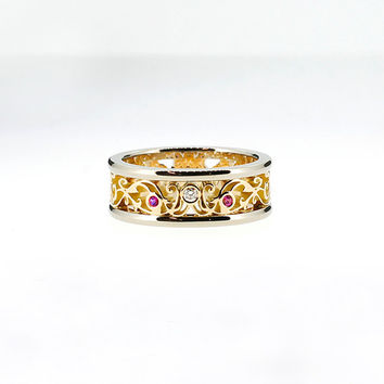 8.00mm wide two tone filigree ring with Ruby and white diamond, man filigree ring, yellow gold, white gold, unique, pink wedding, ruby band