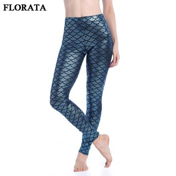 FLORATA S-4XL High Waist Leggings Women Sexy Mermaid Fish Scale Skinny Slim Jeggings Fashion&Comfortable PLUS SIZE