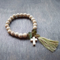 Mala style stretch bracelet, cream Magnesite and Czech glass beads, hand stamped charm, stacking bracelet, Boho hippy style