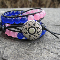 Chunky Triple Wrap Bracelet in Pink and Blue