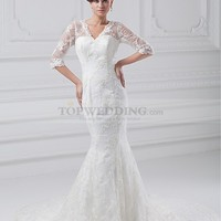 V Neck Allover Lace Trumpet Wedding Dress with Half Sleeves