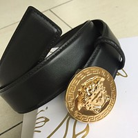 New High Quality Authentic Versace Leather Belt Men's Black Belt---