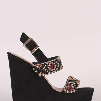Bamboo Suede Tribal Beads Wedge