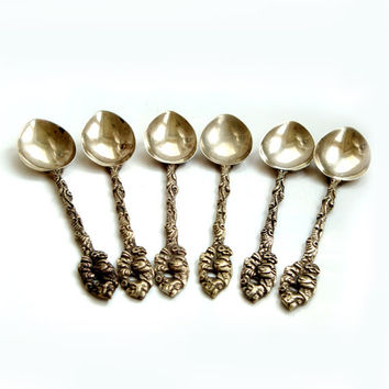 Antique italian Teaspoons , Set of 6 vintage Spoons , Montagnani Style Teaspoons Set of 6 ,Made in Italy brass spoons