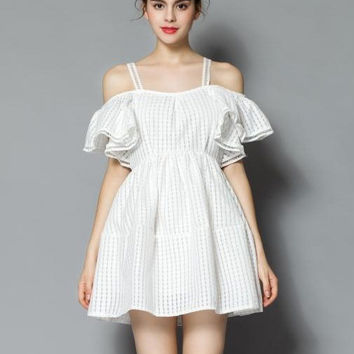 Off Shoulder Ruffled Sleeve High Waist Mini Skater Dress