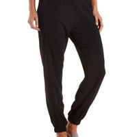 Mesh-Trimmed Jogger Pants by Charlotte Russe - Black