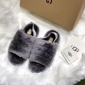 Ugg Women's Fluff Yeah Slide Charcoal - Best Online Sale