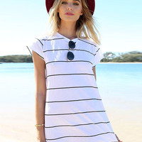 Black and White Wide Stripes Summer Beach Mini A-line Dress with Short Sleeve