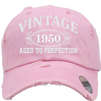 AGED TO PERFECTION 1950 Embroidered Distressed Baseball hat