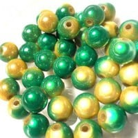 Round Miracle Beads Green Yellow Acrylic Resin Plastic 8mm 10 | PurpleBirdie - Jewelry Supplies on ArtFire