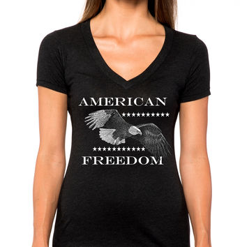 American Freedom Eagle Deep V-Neck Tee