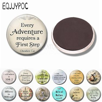 "Alice In Wonderland Quote ""every Adventure Requires a First Step"" Glass Dome Refrigerator Magnet Cheshire Cat Magnetic Stickers"