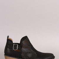 Qupid Perforated Suede Buckled Cowgirl Booties