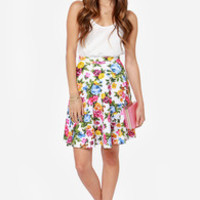 Rose to Heart Ivory Floral Print Skirt