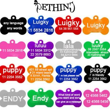 2pcs/lot Free Personalized engraving text  pet id tags dog cat tag dog identification customized name address telephone any text