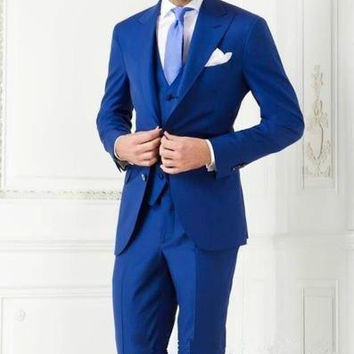 2016 New Custom Made Royal Blue Mens Suit Groom Tuxedos Wedding Suits Formal Business Suits Party Suits Blazers