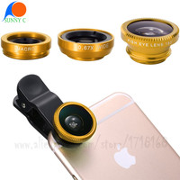 3 in 1 Universal Phone Camera Lens Clip Kits Fish Eye + Wide Angle + Macro Lens For Samsung Galaxy S6 Edge iPhone 6s Sony HTC
