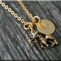 Gold Sagittarius Zodiac Charm Necklace, Initial Charm Necklace, Personalized, Zodiac Sign, Sagittarius Pendant, Zodiac Sagittarius Jewelry
