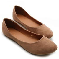 Ollio Womens Shoe Ballet Light Faux Suede Low Heels Flat(7 B(M) US, Brown)