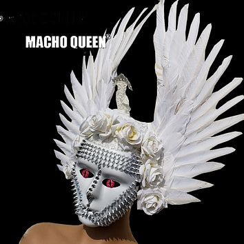 Holographic Burning Man Mask Feather Wig Headdress Head Pieces Costumes Festival Rave Clothes Outfits Gear Halloween Masquerade (white)