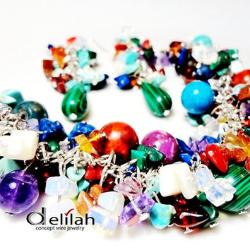 Lots of colors, with crackles and gems - many crackles, various colors, gemstones,malachite,bracelet,earrings