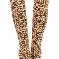 Leopard Single Sole Thigh High Heel Boots Faux Suede