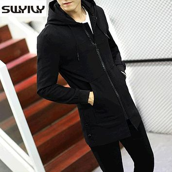 Long Frock Coat Slim Windbreaker Jacket Mens Solid Color Trench Coats 2017 Autumn New autumn Overcoat For Male Plus Size M-5XL