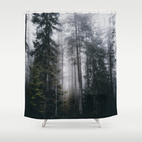 Into the forest we go Shower Curtain by happymelvin